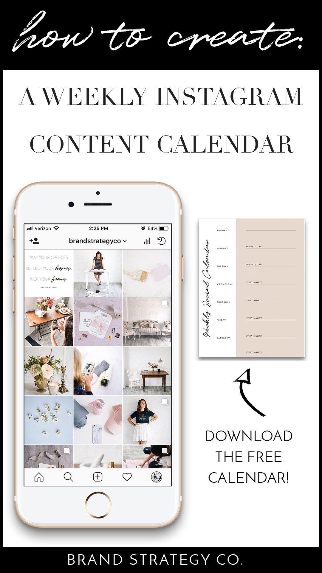 How To Create An Instagram Content Calendar Pinterest Free - Instagram calendar template