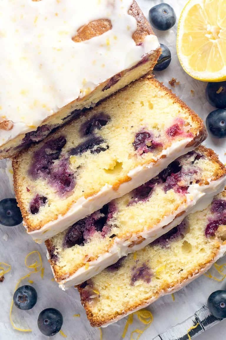 Double glazed blueberry lemon pound cake foodtasia