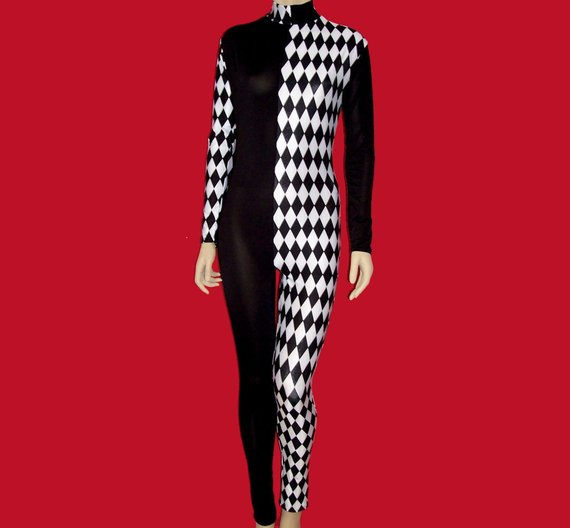 e72baed934d9 Harlequin Clown With Black and White Diamonds Stretch Spandex Unitard  Catsuit Bodysuit Jumpsuit - Me