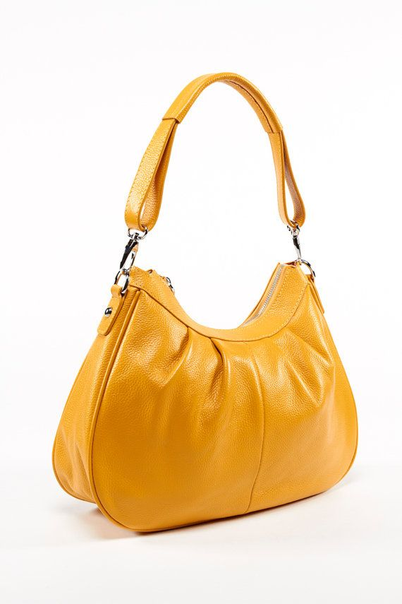 Yellow Leather bag/ Leather Handbag/ Leather purse/ by Adeleshop