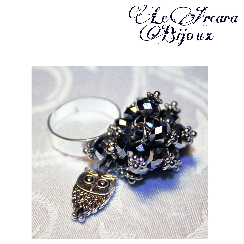 anello regolabile con perline e gufetto https://www.facebook.com/le.arcarabijoux