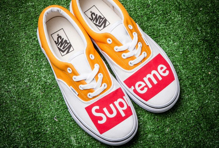 Vans X Supreme Yellow White Era Skate Shoes Skate Shoes Sneakers Vans