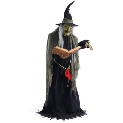 Life size spell casting witch animated halloween figure for Animated halloween decoration