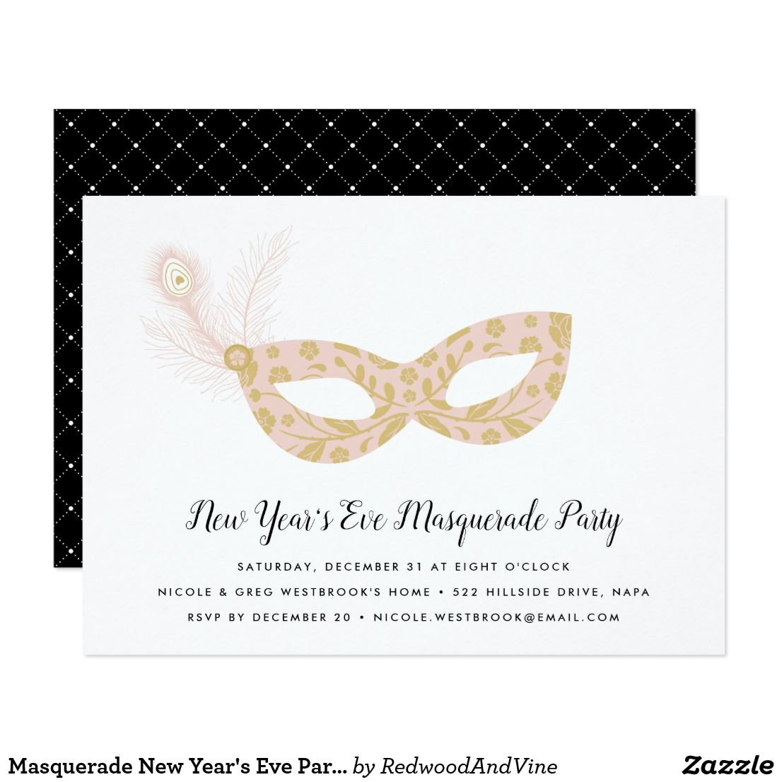 masquerade new years eve party invitation