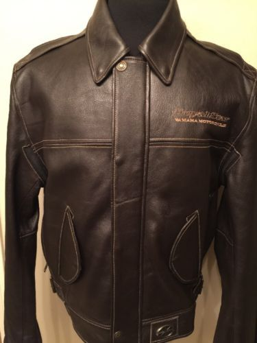 c44615d8341 Yamaha Royal Star Men s Motorcycle Leather Jacket Brown Color Size L ...
