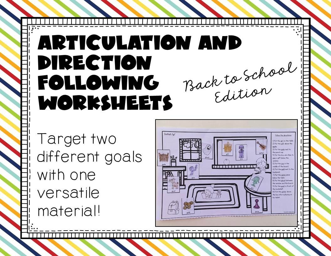 Articulation And Direction Following Worksheets Back To