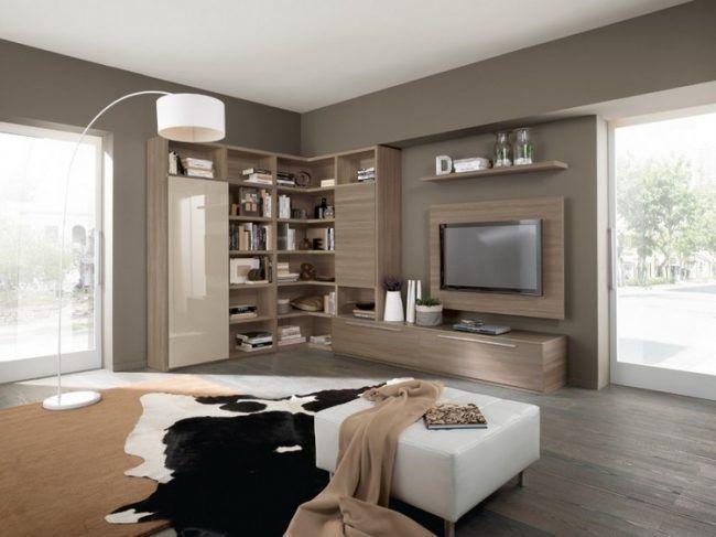 schrankwand-wohnzimmer-eiche-lack-creme-fronten | wohnen mal, Wohnzimmer dekoo