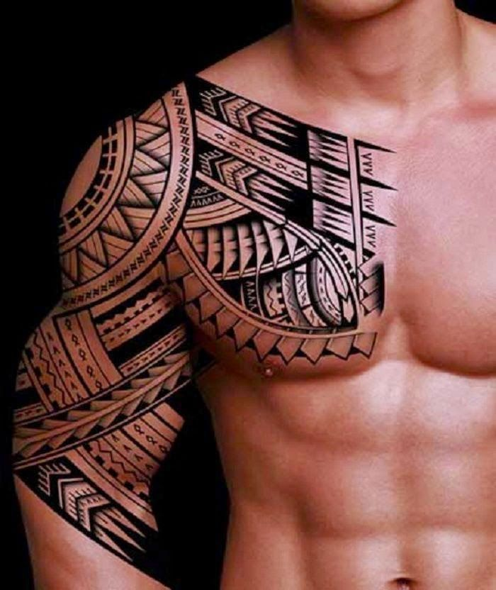 c29bcb312 tatuaje maori en hombre, tatuaje tradicional polinesio para hombre ...