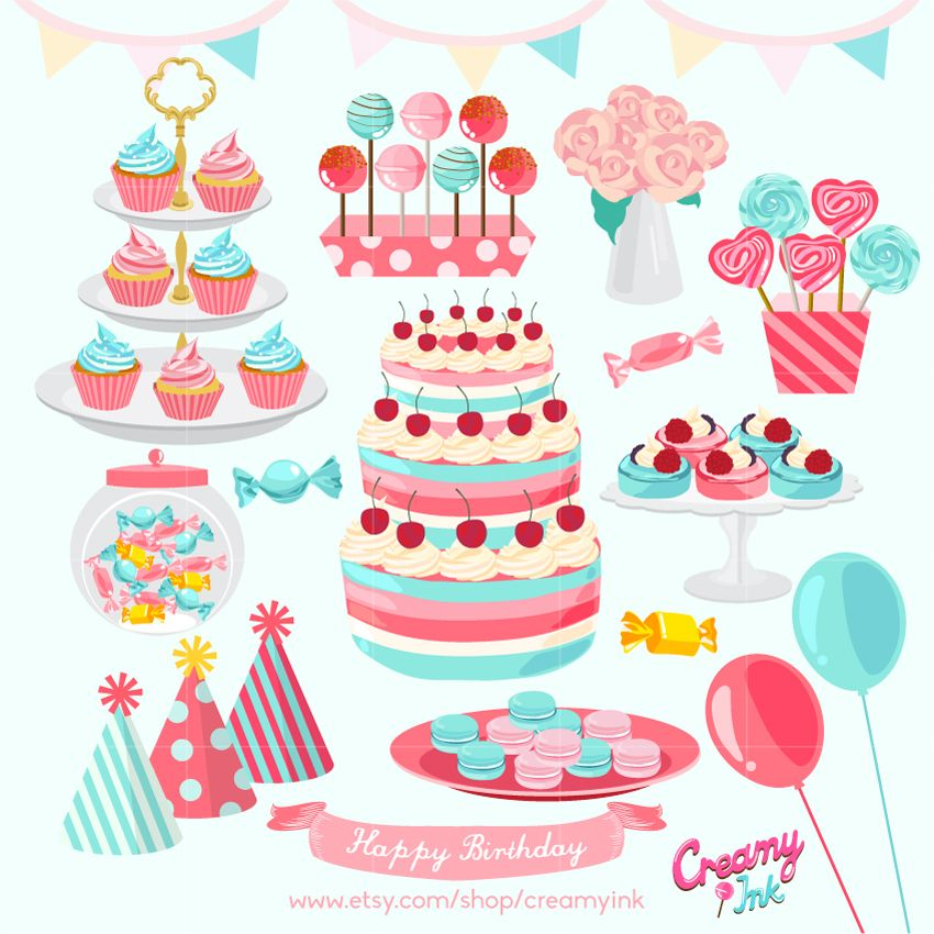 Birthday Party Digital Clip Art Featuring Different Decorations Such As Cake Muffin Candy