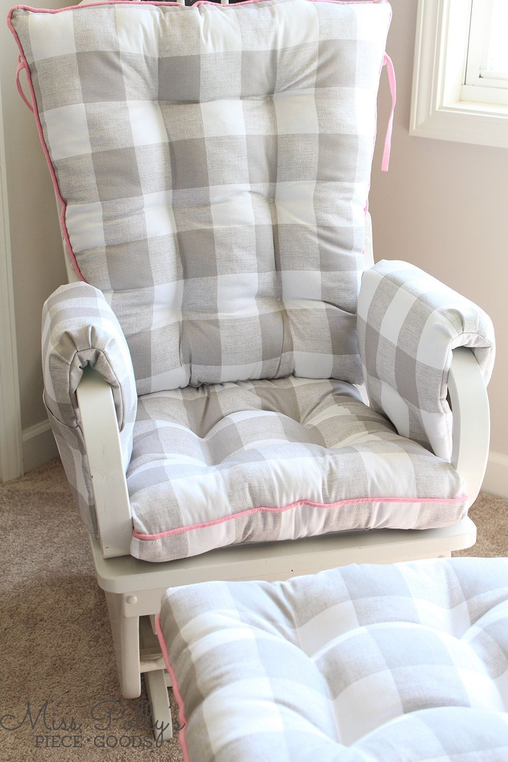 Glider or rocking chair cushions in fabrics you choose are