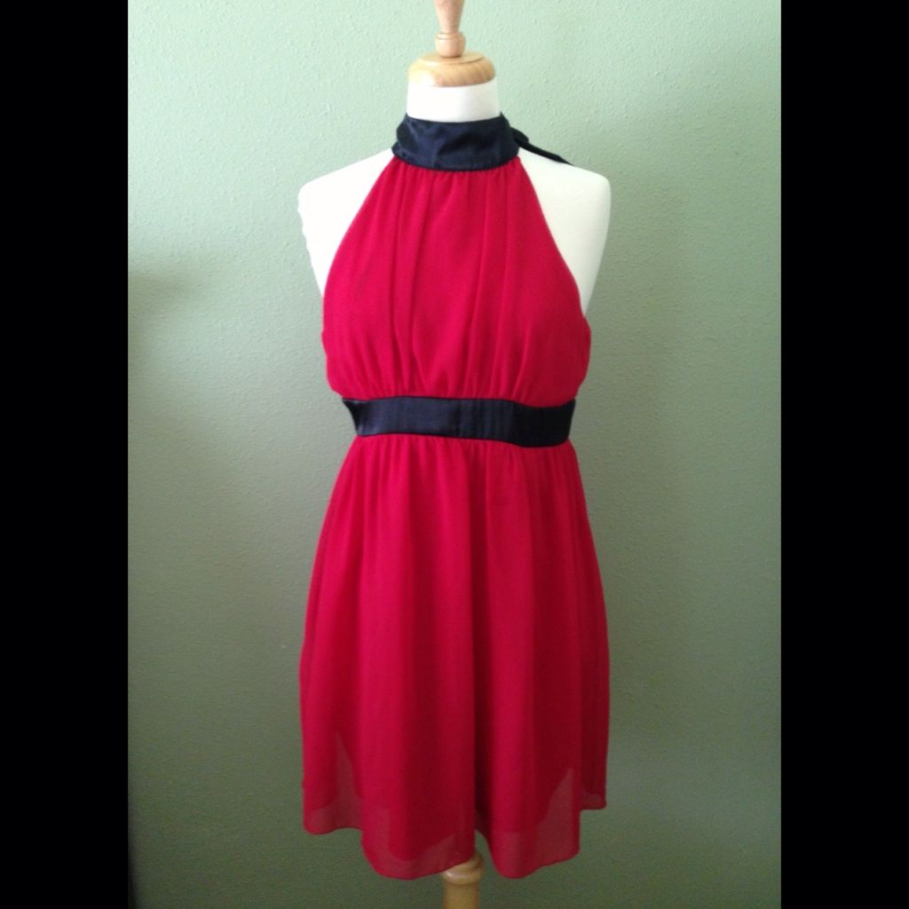 Forever red haltered dress with black trimmings products