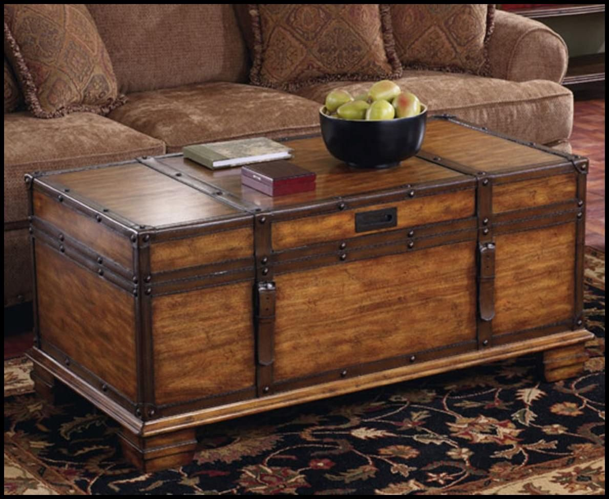 Image Of Storage Trunk Coffee Table Decor Wooden Trunk Coffee Table Chest Coffee Table Coffee Table [ 976 x 1189 Pixel ]
