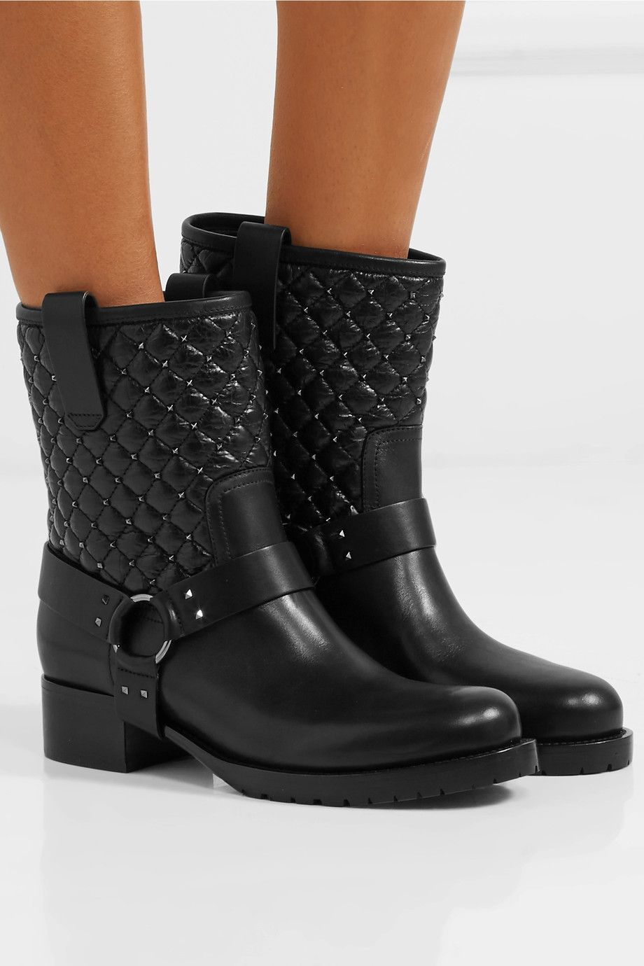 2687e4ac843 Valentino | Rockstud Spike quilted leather biker boots | NET-A ...