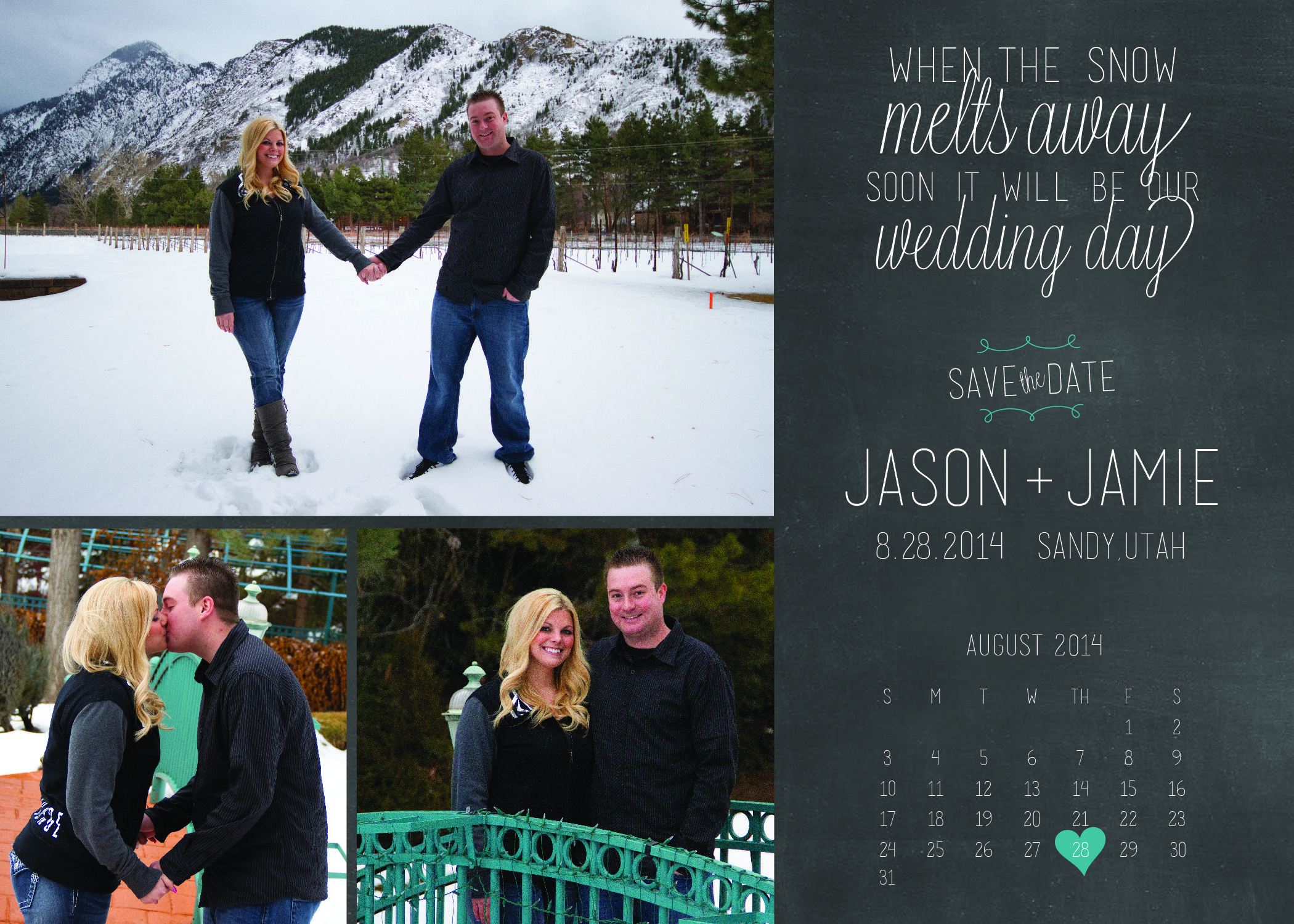 Wedding ideas.  Save the dates! Save the date ideas. Snow engagement pictures.