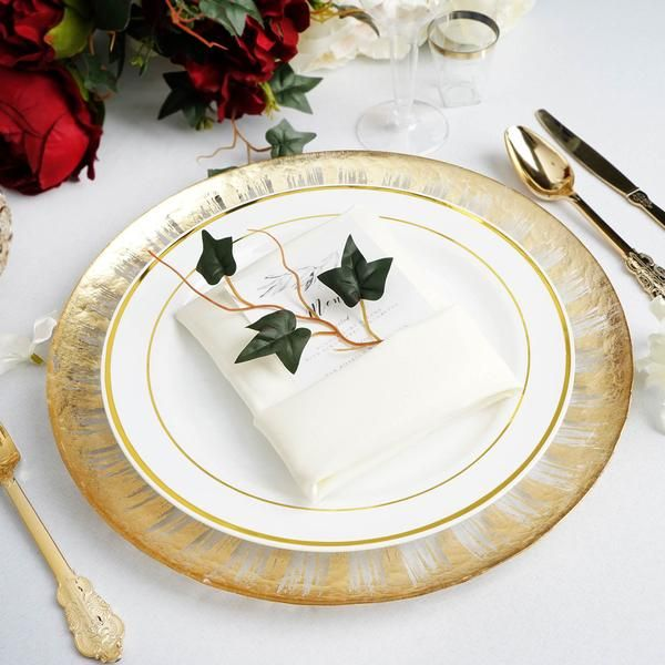 8 Pack 13 Glass Charger Plates Round Gold Rim Spray Design Charger Plates Plates Plastic Dinnerware