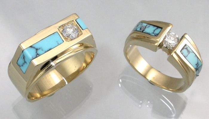 14KT yellow gold wedding rings with diamonds and turquoise inlay