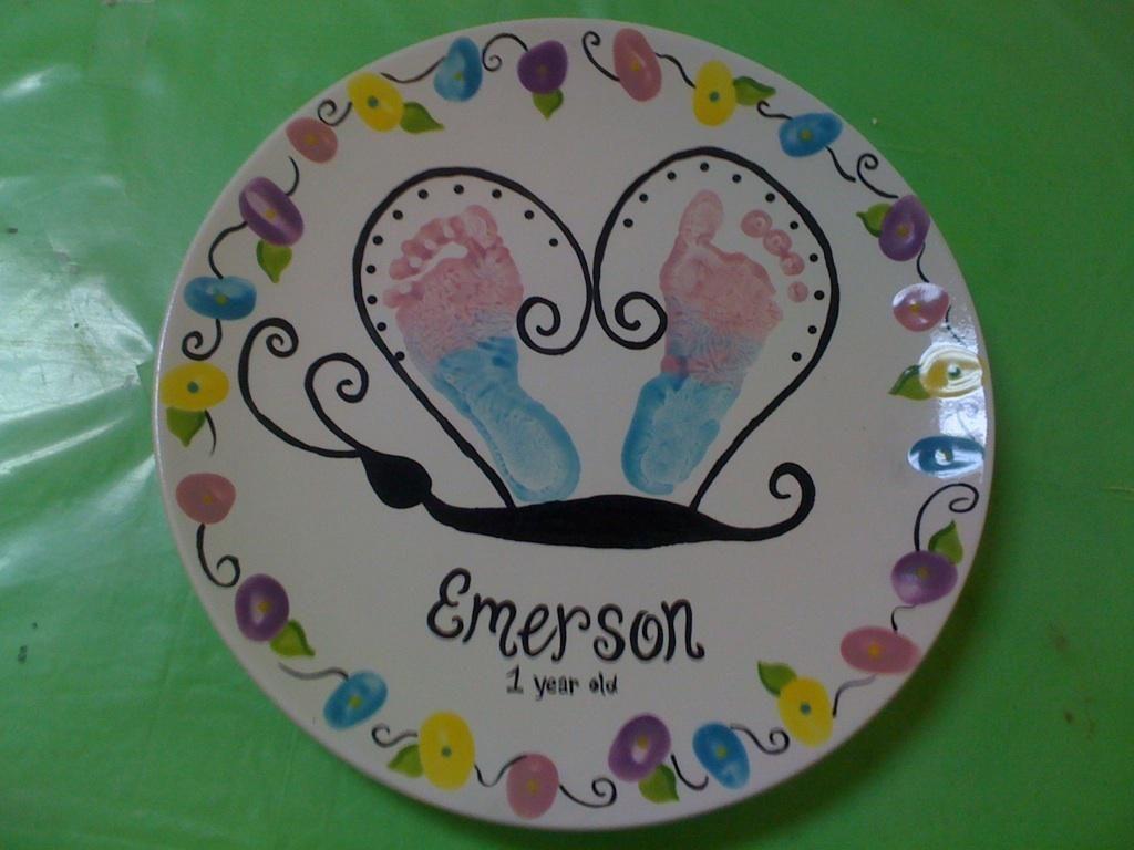 Paint your own pottery handprints picassos paint for Handprint ceramic plate ideas