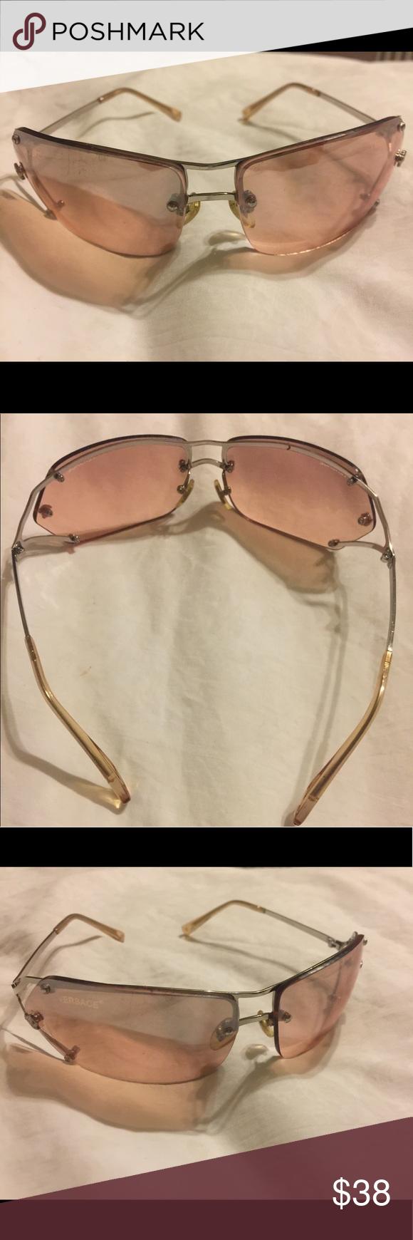 Retro Versace 90s Jlo Clear Frameless Sunglasses Frameless Sunglasses Sunglasses Versace