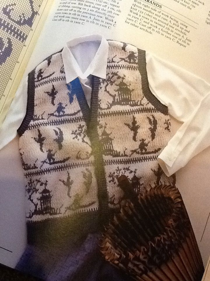 Willow patterned waistcoat! You can look like a plate! But a lovely plate. Sasha Kagan's Sweater Book, 1984