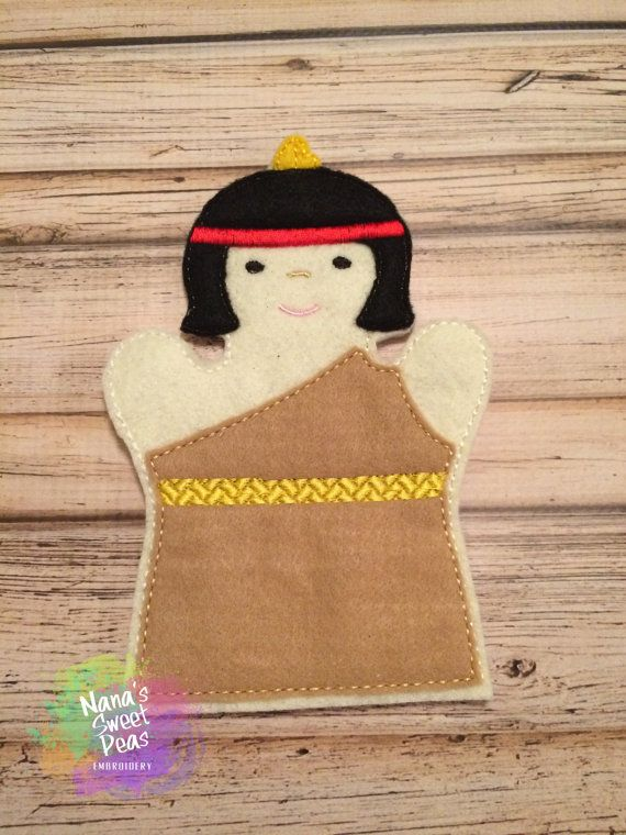 Hand PuppetGirl Indian by NanasSweetPeas on Etsy