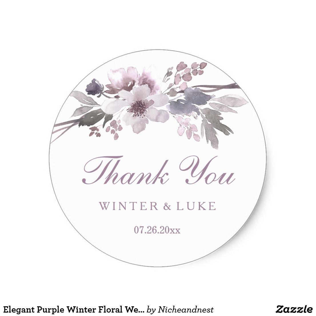 Elegant Purple Winter Floral Wedding Thank You Classic Round Sticker ...