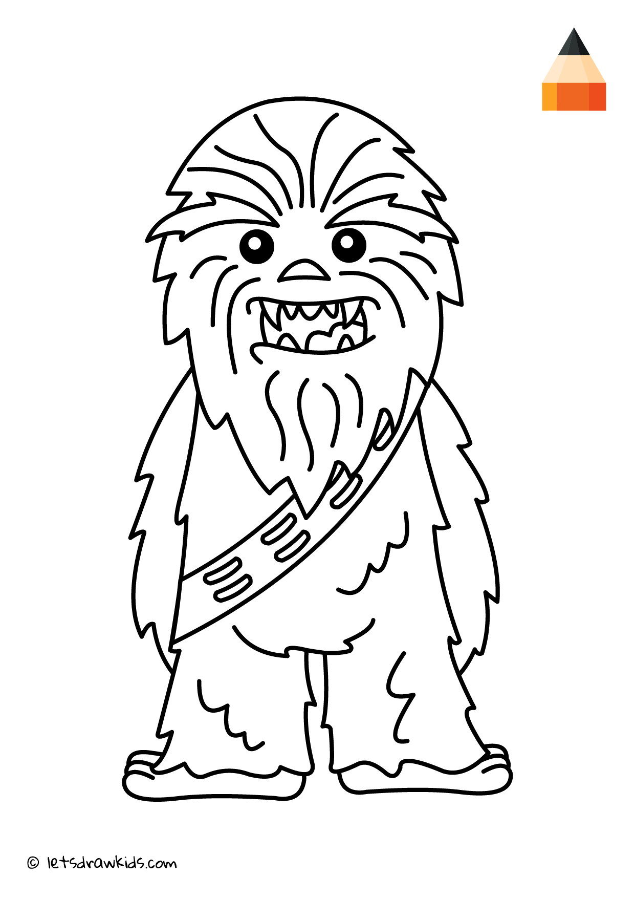 Coloring Page - Chewbacca | Coloring pages | let\'s draw kids ...