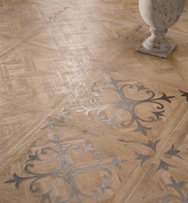 bodenfliesen großformatig dekorativ silberne elemente parkett look