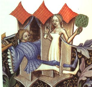 A bathing woman in underwear. Bohemian, late 14th or early 15th century  From Codices vindobonenses 2759-2764 in the Osterreichischen Nationalbibliothek, in Vienna, Austria.
