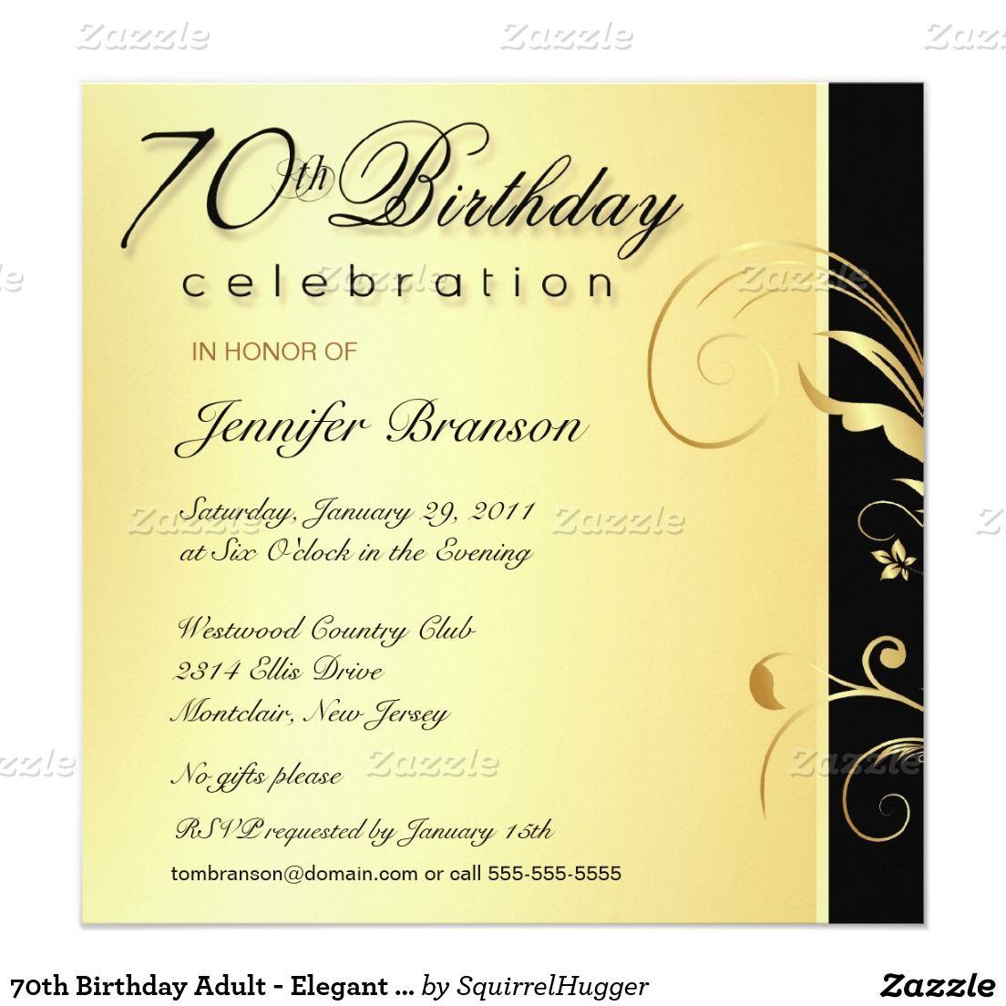 70th Birthday Adult - Elegant Gold Floral Invites | 70 birthday and ...