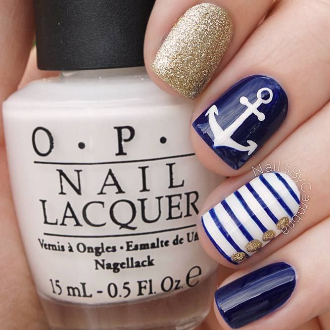 Nail Art Tutorial Nautical Nail Art Using Cuccio: 27 Stunning Examples Of Cobalt Blue Nails For Elegant