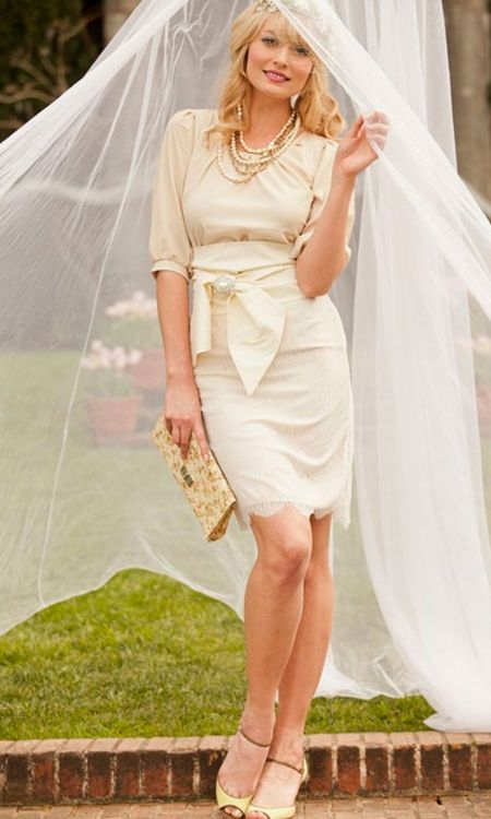 Band of Gold Skirt - - Cream & off white lace pencil skirt - sits at nat. waist line - fully lined