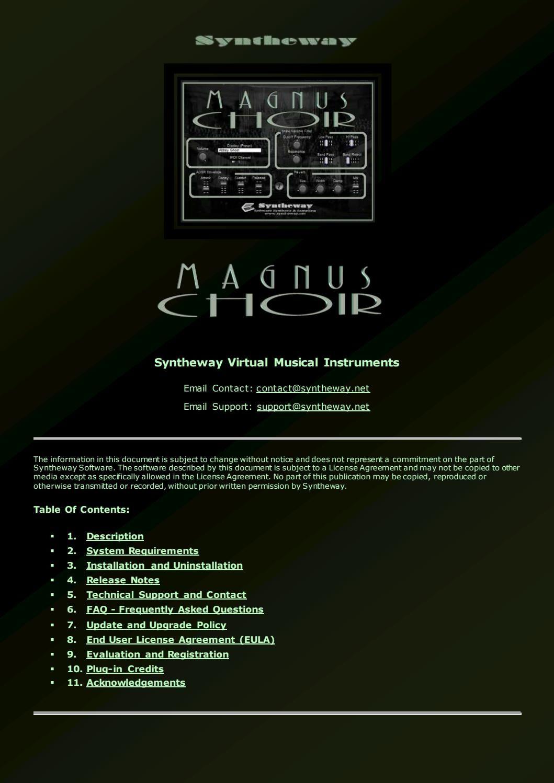 Syntheway Magnus Choir VSTi v2 1: Choral Ensemble of Virtual Singers