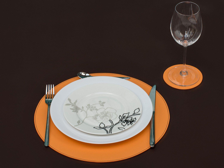 Orange Round Placemats, Round Placemats, Round Dining Set, Orange ...
