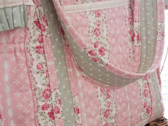 handmade large shabby chic quilted diaper bag tote bag toddler rh pinterest com