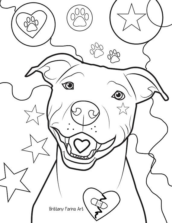 Pitbull coloring page coloring page by BrittanyFarinaArt on Etsy ...
