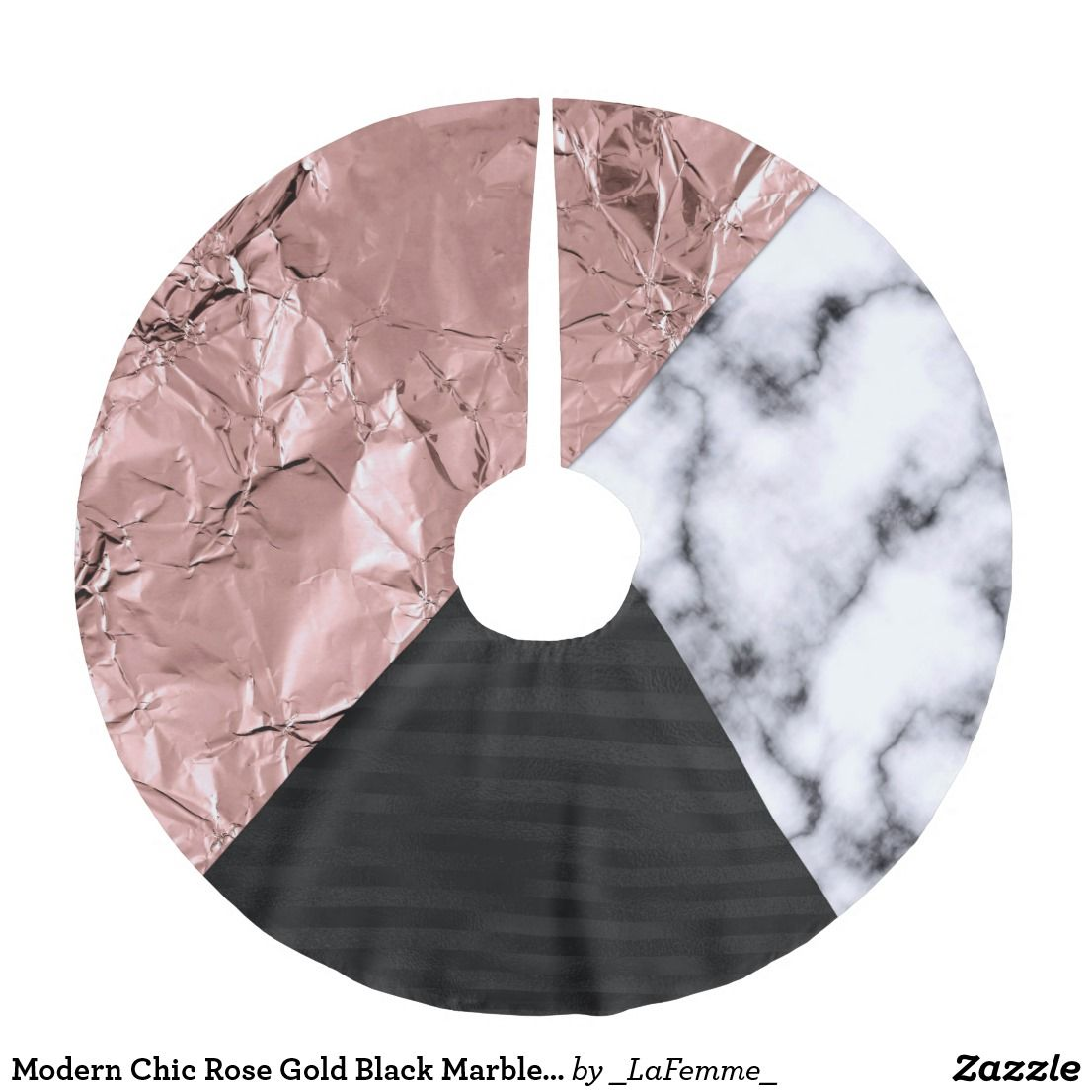 Modern Chic Rose Gold Black Marble Geometric Brushed Polyester Tree Skirt Gold Christmas Tree Skirt Christmas Tree Skirt Holiday Tree Skirts