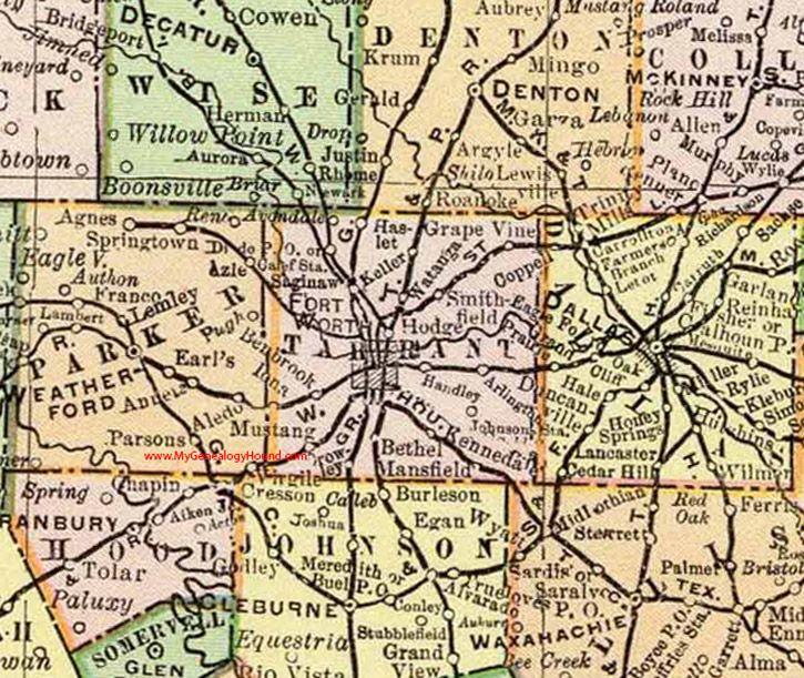 Tarrant County Texas 1897 County Map Fort Worth Saginaw Watauga