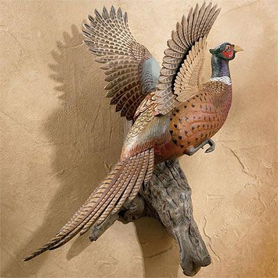 Rising Rooster Pheasant Wall Mount Sculpture Sculpture Wall Sculptures Stylish Wall Art
