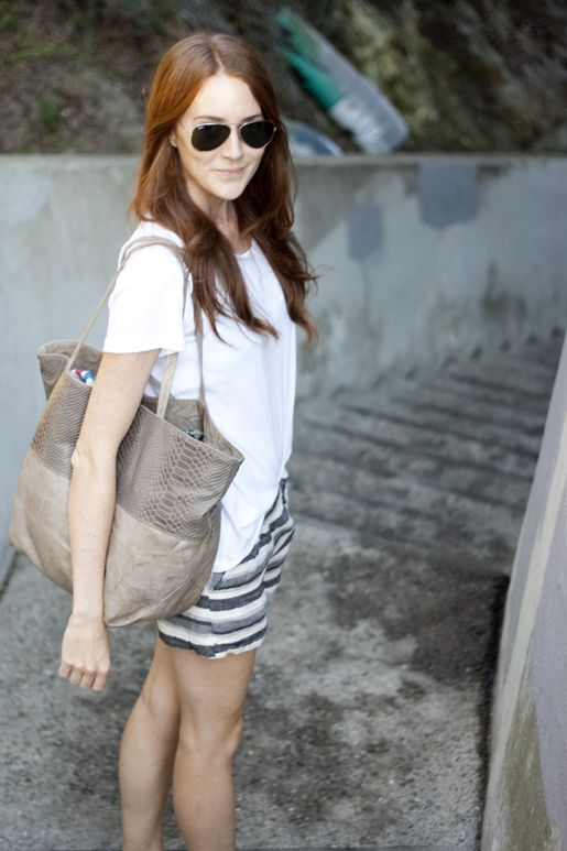 Samantha Hutchinson of Could I Have That? with her Joie Huntley tote, available at Joie.com
