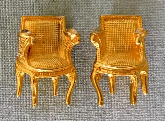 Iconic KARL LAGERFELD Signed Baroque CHAIR Clear Diamanté Crystal Earrings Gold Metal Vintage Design