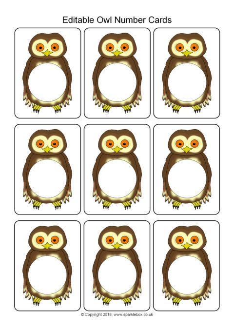 Editable Owl Number Cards Template (SB12430) - SparkleBox ...