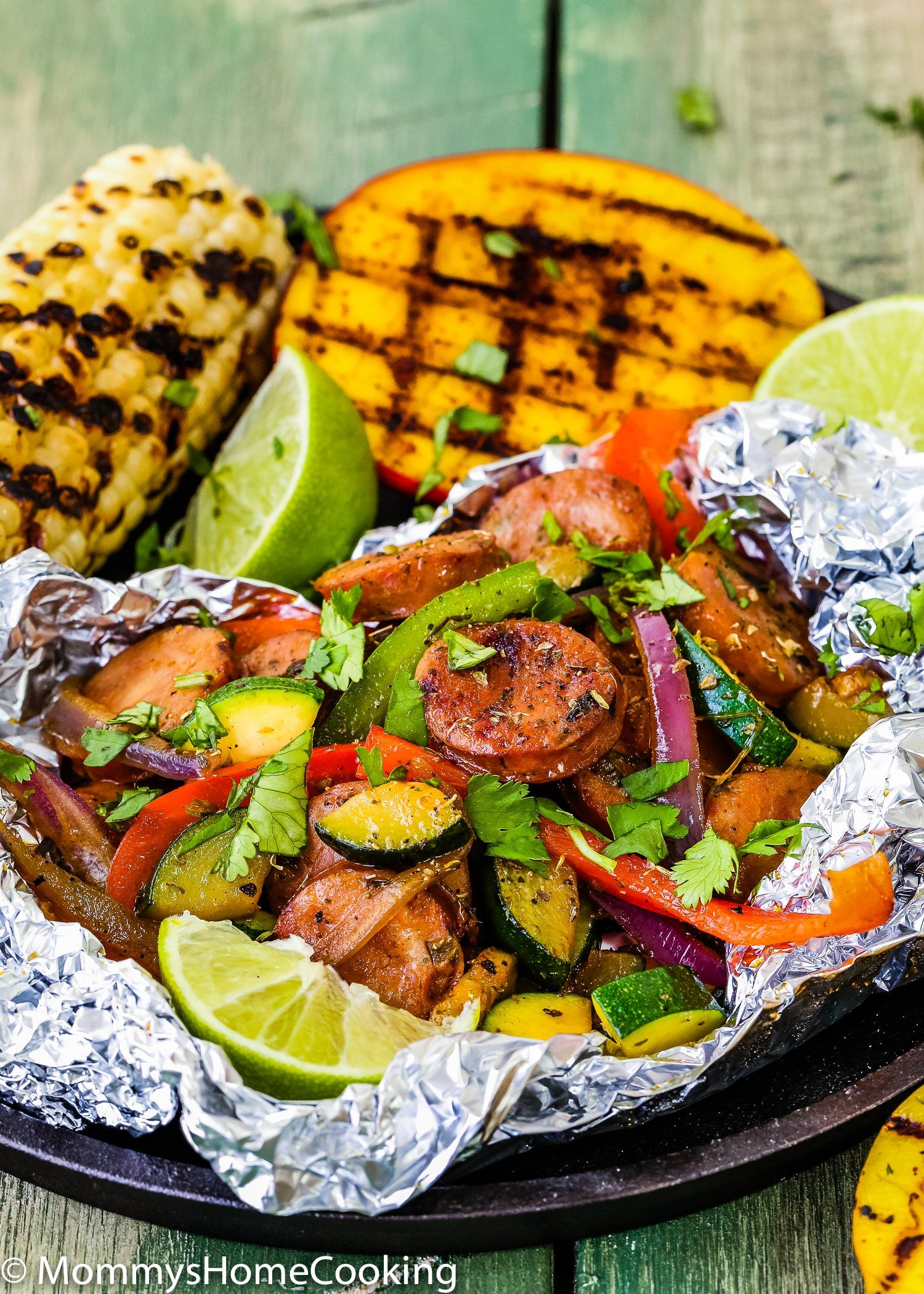Easy sausage and veggies foil packets with grilled