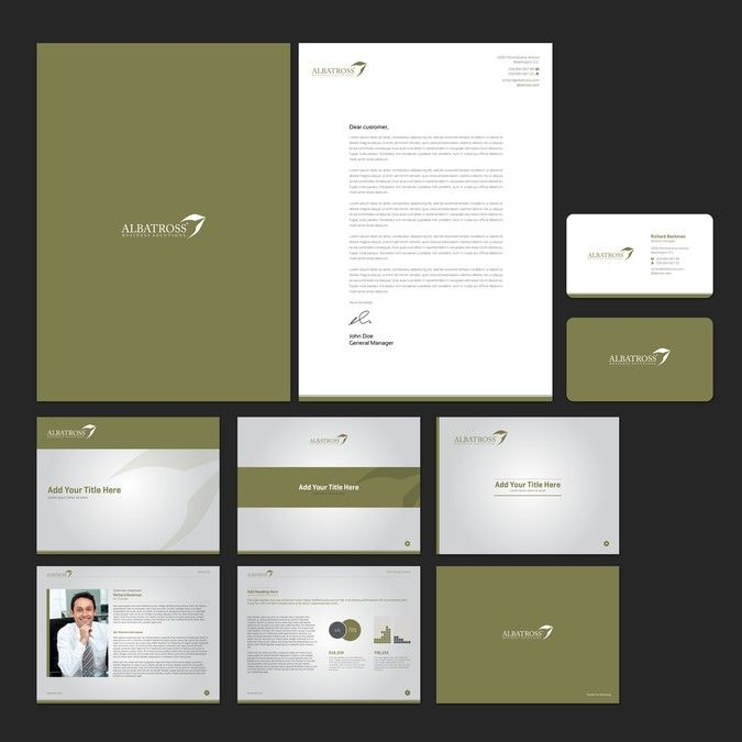 bold and creative business card letterhead and powerpoint template