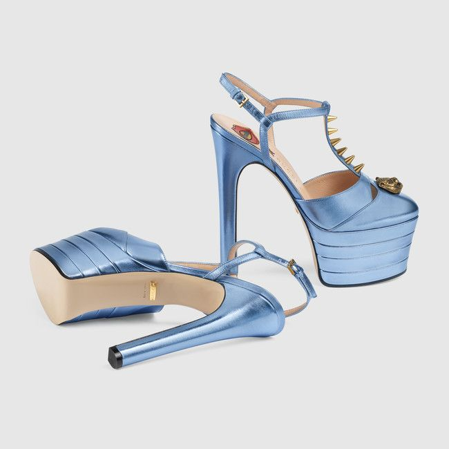 "Gucci ""Light Blue"" Studded leather platform pump"