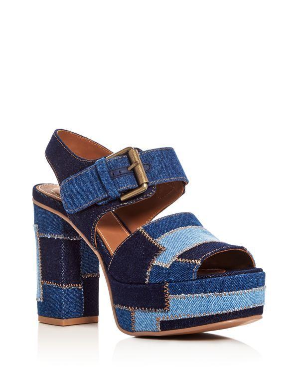 db04fc88ba7b See by Chloe Denim Patchwork Block Heel Platform Sandals