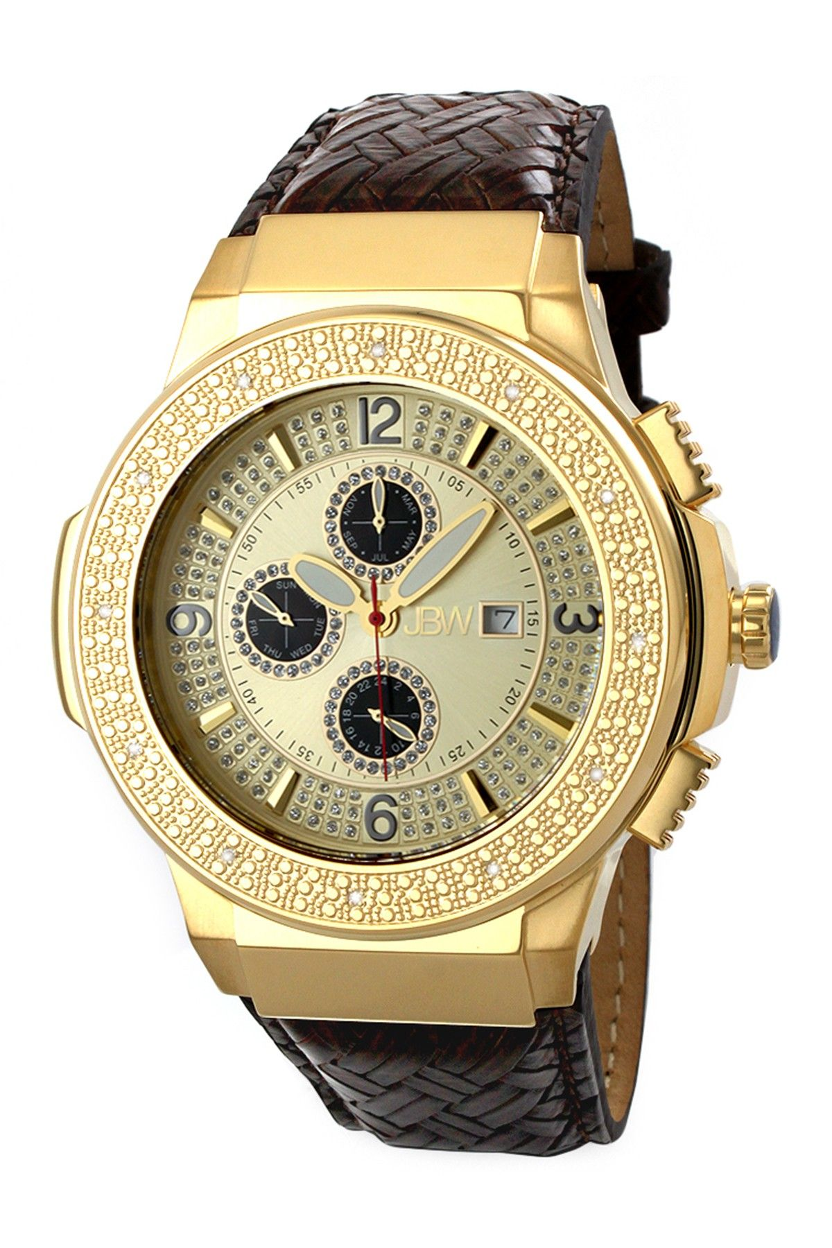 Jbw Men S Saxon Leather Diamond Watch 46mm 0 16 Ctw Gold