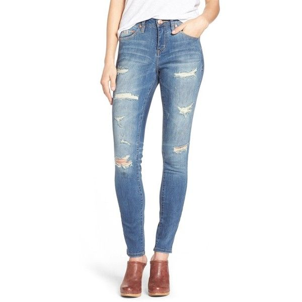69d0d8f0f24 Women's Jag Jeans 'sheridan' Distressed Skinny Jeans ($45) ❤ liked on  Polyvore featuring jeans, blue carbon, destructed jeans, ripped jeans, torn  jeans, ...