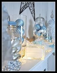 mantel theme - silver and blue