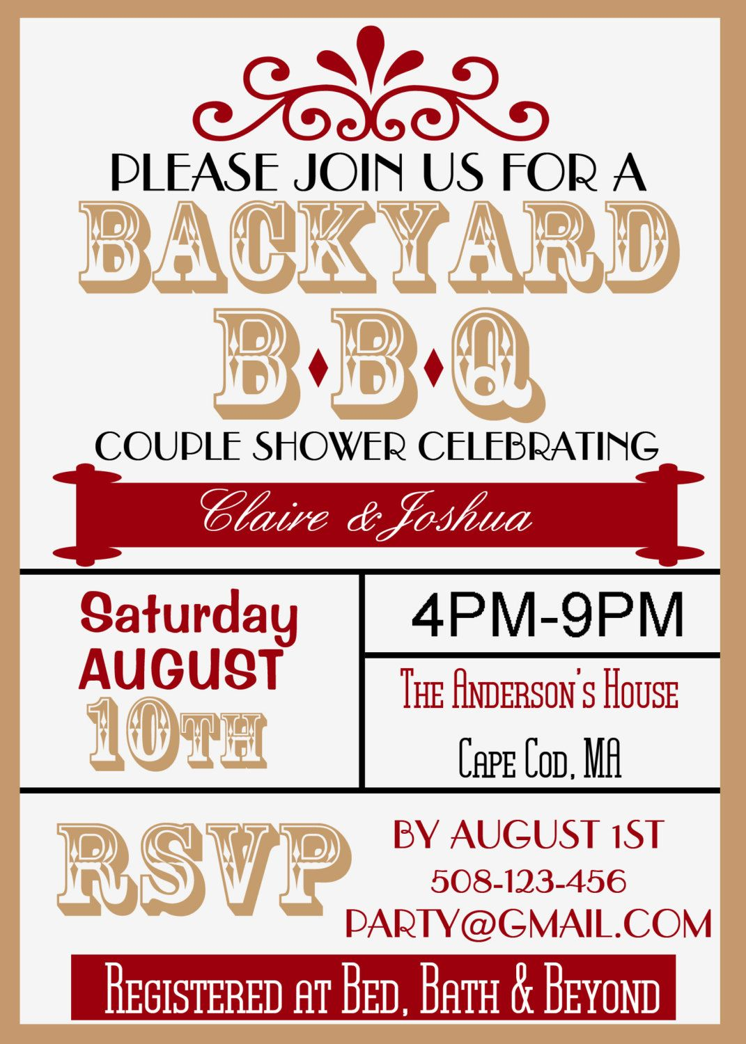 Backyard BBQ Couple Wedding Shower Invite - Vintage Look | Pinterest ...