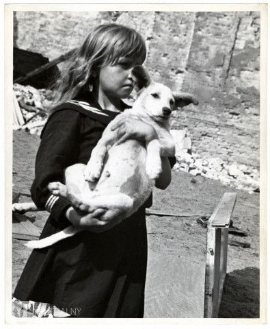 A Polish girl holding her dog in her arms views the destruction wrought by German air raids during the siege of Warsaw